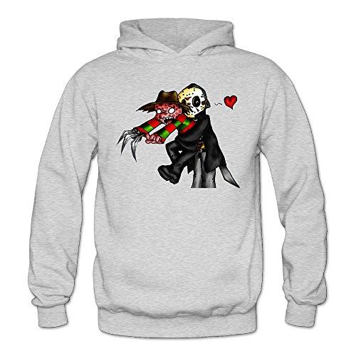 MARC Women's Nightmare On Elm Street Jason Voorhees And Freddy Krueger Hooded Sweatshirt Ash Size XL -