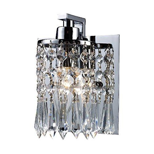 Elk Lighting 11228-1 Optix 1 Light Crystal Wall Sconce Lighting Fixture, Polished Chrome, Leaded Crystal, B12496
