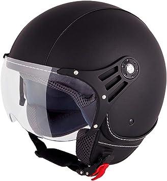 Vinz Laghi Motorradhelm Roller Helm Jethelm Jet Helm Fashionhelm Lederhelm In Gr Xs Xl Helm Mit Visier Ece Zertifiziert Schwarz Auto