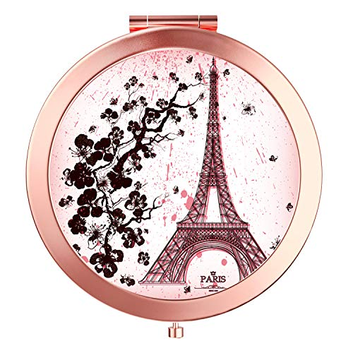 (HeaLife Paris Eiffel Tower Compact Mirror Rose Gold Travle Makeup Mirror [New Version] Double Sides Magnification Portable Hand Mirror Round Metal Pocket HandHeld Mirror for Women and Girls)