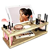 Ikee Design Wooden Makeup Storage Beauty Station & Makeup Brush Holder with Phone Station