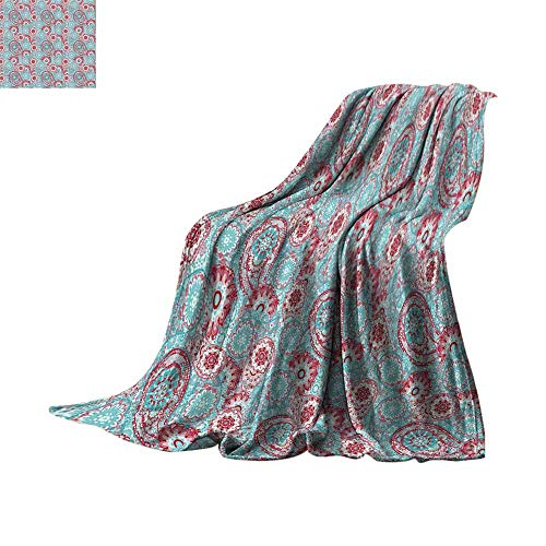 """Luckyee Lightweight Blanket Vintage,Traditional Oriental Spring Flowers Pattern Paisley Ornamental Eastern Artwork,Pink Light Blue Oversized Travel Throw Cover Blanket Bed or Couch 62""""x60"""""""