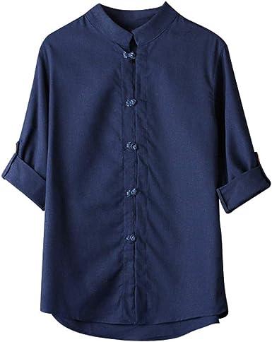 HCFKJ Camisetas Hombre Hombres Camisa CláSica De Estilo Chino De Kung Fu Tops Tang Traje 3/4 Blusa De Lino De Manga: Amazon.es: Ropa y accesorios