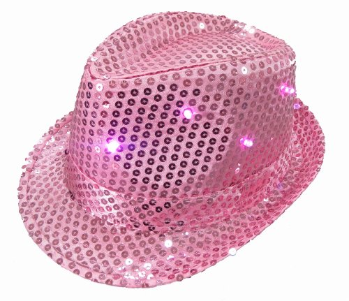 (WeGlow International Light Up Sequin Fedora Hat, Pink)