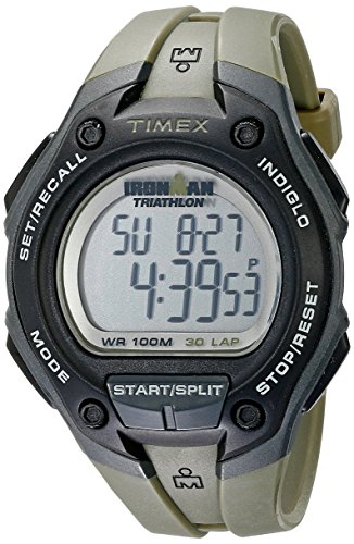 Timex Digital Men's Watch - Ironman 30-Lap Oversize | Gray Case with Green Strap