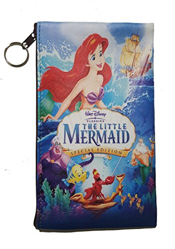 Disney Little Mermaid, Snow White, Alice in Wonderland, Lilo & Stitch, Beauty and the Beast, Peter Pan, Frozen, Mickey & Minnie, Villains Zipper Pouch (8inch x 4inch) (Little Mermaid)]()