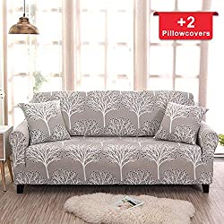 Hipinger Spandex Fabric Stretch Couch Cover Sofa Slipcover Stylish Furniture Protector for 2 Cushion Couch Lovesaet (Loveseat/ 2 Seater, Fiery Tree)