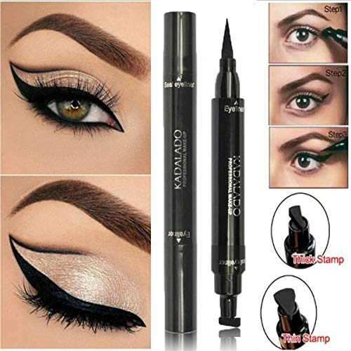 Xixou Eyeliner Stamp, Winged Eyeliner Stamp,Double Sided, Matte Black Liquid Eyeliner, Waterproof, Smudge-Proof, Cruelty Free & Vegan, For Perfect Wings (10mm classic)