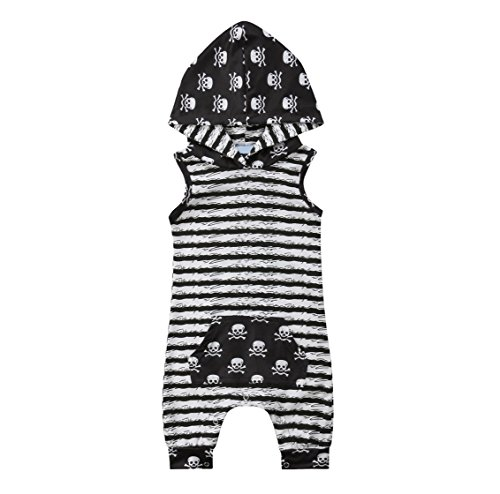 rechange Newborn Infant Baby Boy Girl Skull Print Sleeveless Hooded Romper Onesies Short Jumpsuit Striped Bodysuit Playsuit (0-6 Months, Black)