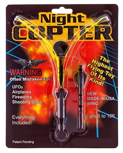 Night Copter - Light up Flying Helicopter Slingshot Toy w/LED - Highest Flying UFO Toy of Its Kind - Long Lasting Fun for Kids Ages 6 to 106 - Durable, Reusable, - USA-made Wing - Batteries Included, No Assembly, Bigger and Better than the Rocket (Glow In The Dark Toy Parachute)