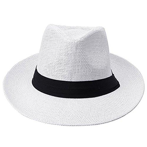 Amaible Mens Fashion Ribbon Hat Summer Beach Sun Topee Straw Panama Cap - White
