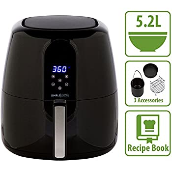 5.2L Digital XL Air Fryer. 3 Piece Accessory Set & Recipe Book. 7 Cooking Settings, Simple Living Products