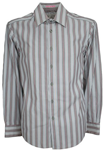 Ex Store grau Mix Stripe Long Sleeve Shirt 3326-Cotton