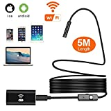 Wireless Endoscope, Wifi Waterproof Wireless Borescope with 8 mm Lens 6 LED Inspection Camera Endoscopic Semi Rigid Hard Tube and Software for Iphone IOS/Android/Smartphone/PC (5M/16.4ft)