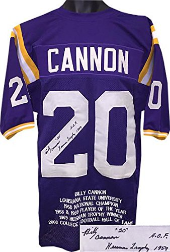c4153a9c23a Billy Cannon Signed Jersey - Purple TB Custom Stitched College Football w  dual  20 Heisman