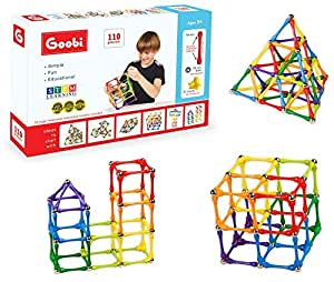 Goobi 110 Piece Construction Set with Instruction Booklet   STEM Learning   Assorted Rainbow colors