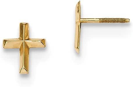 Pendientes de oro amarillo de 14 quilates Madi K pulido 3D Cruz Post para mujer