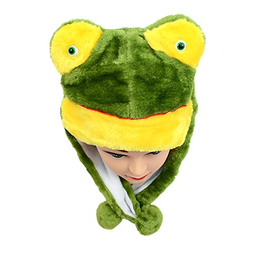 (Kid's Fleece Animal Hats - Adorable Animal Hats, Pom Pom Tie, Over The Ears for Warmth, Soft Lining (Frog Dark Green))