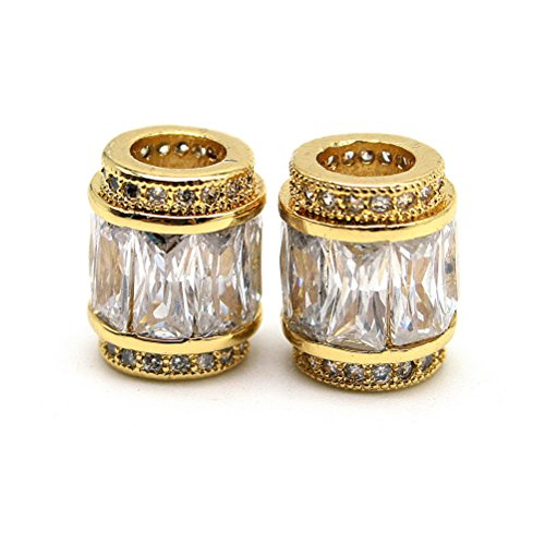 Beautiful Bead A Pair of Cylinder Tube Shaped Design Findings Pendants Golden Silver (Silver Cylinder Bead)