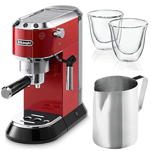 Delonghi Dedica EC 680.R Espresso Machine (Red) + 2 Free Delonghi Glasses and Frothing Pitcher