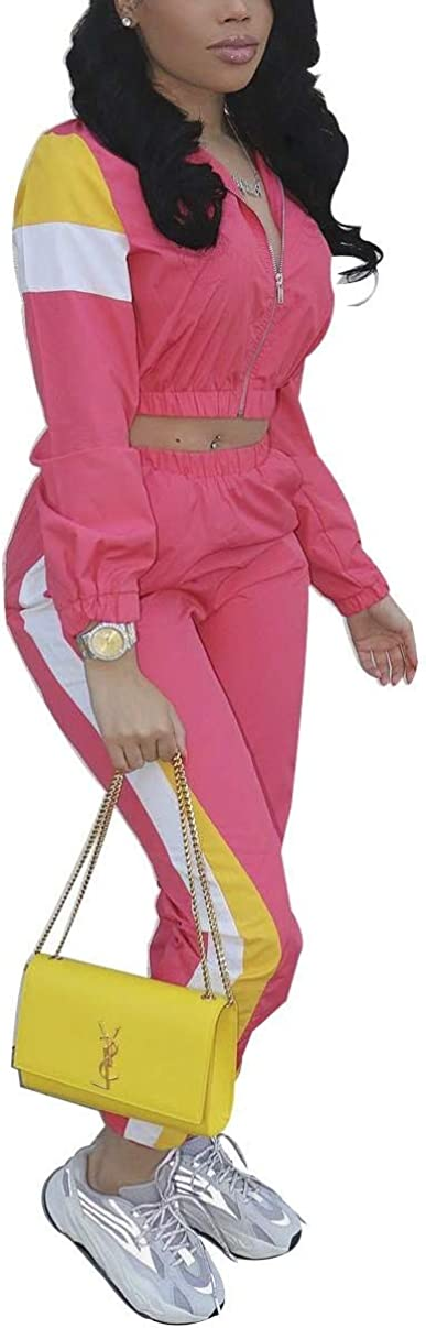 Women Casual Tracksuit 2 Piece Zip Top and Elastic Waistband Pant Women Windbreaker Tracksuit Set