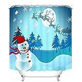 KEANER Christmas Snowman Waterproof Polyester Printed Shower Curtain