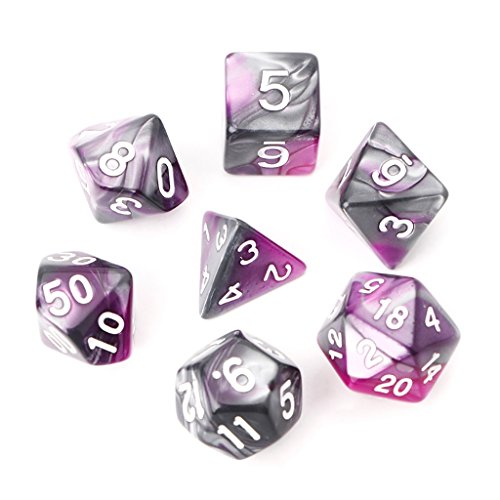 OTGO 7pcs/Set Portable Acrylic Polyhedral Dice Table Gaming Dice for TRPG Board Game Dungeons And Dragons D4-D20 (Purple) Pink Dice Game