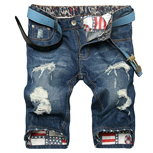Lavnis Men's Fashion Casual Denim Shorts Moto Biker Distressed Shorts Jeans with Zipper Style 1 Blue 38