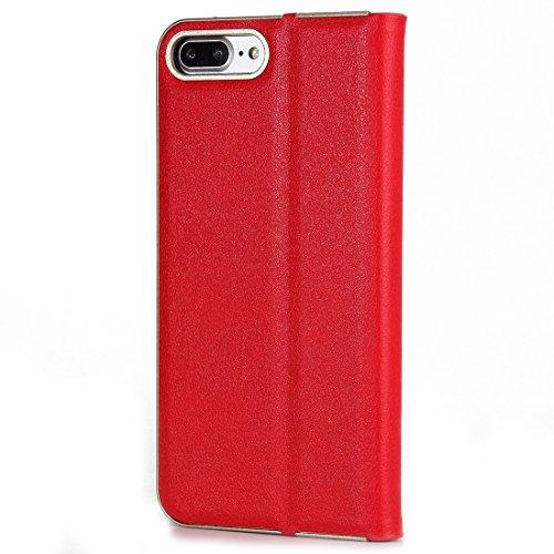 MXNET IPhone 7 Plus Case, Texture PC Stoßfänger Starke magnetische Adsorption Horizontale Flip Leder Tasche mit Card Slots & Holder CASE FÜR IPHONE 7 PLUS ( Color : Red )