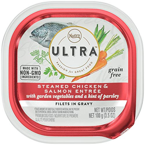 NUTRO Ultra Adult High Protein Natural Grain Free Wet Dog Food Filets in Gravy Steamed Salmon Entrée with Garden Vegetables and a Hint of Parsley, (24) 3.5 oz. Trays (Salmon Dog Nutro)