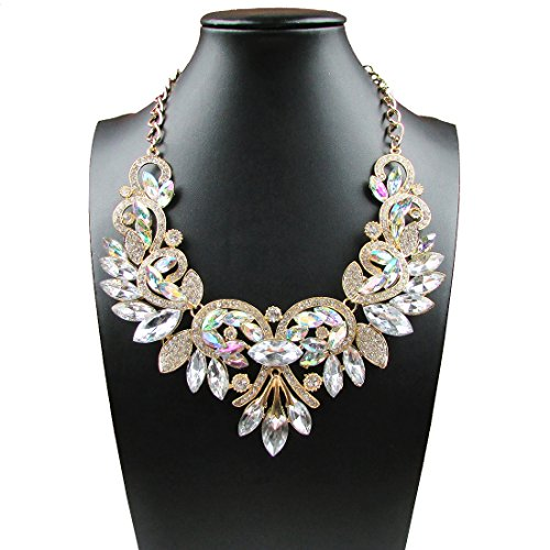 Women's Summer Fashion Jewelry AB Color Crystal Choker Statement Necklace (Ab Jewelry)