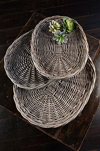 Vagabond Vintage, Set of 3 Oval Willow Platters in Grey Wash