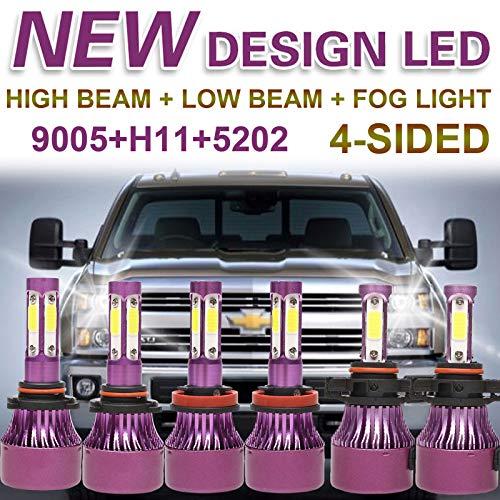 Autobaba H11 9005 LED Headlight Hi/Low Beam + 5202 Fog Light for 2007-2015 Chevy Silverado 1500, 60000LM Super White Light, 6000K, Plug and Play
