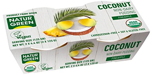 naturgreen, organic coconut pineapple non-dairy pudding, vegan, 6 packs of 2 cups (4.4oz each)