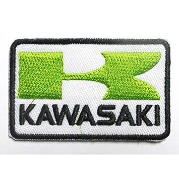 hotrodspirit – pequeño Patch Kawasaki Verde y blanco rectangular 6.5 x 4 cm) escudo termoadhesiva – Chaqueta Camisa