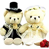 Cute Teddy Bear Plush Toy Soft Doll for Wedding Car Couple's One Pair of Wedding Gifts