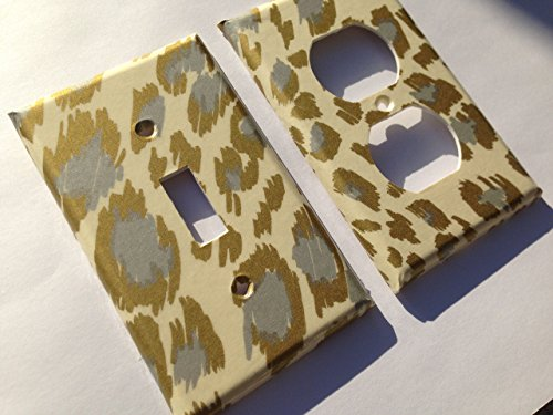 Silver And Gold Leopard Light Switch Cover - Various Size Light Switchplates Offered