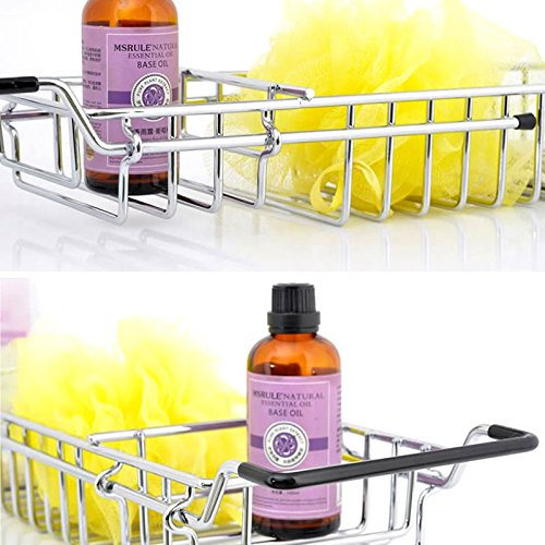 best Juenana 3 Compartment Chrome Over Bath Rack Shower Tray Tub Caddy Bathroom Storage Shelf
