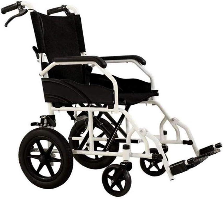 Wheelchair Transporte Ultra Ligero Silla De Ruedas Plegable Portátil Conducción Ergonómica Ensanchamiento Médico Neumáticos Sólidos, Telas Transpirables, Frenos De Mano, Ancianos Y Discapacitados