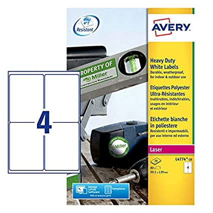 Avery White Heavy Duty Labels - Laser - L4774 - Etiquetas de Impresora (Color Blanco, Laser)