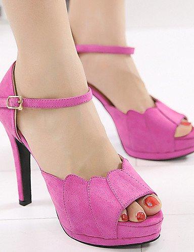 LFNLYX Zapatos de mujer-Tacón Stiletto-Tacones / Punta Abierta / Plataforma-Sandalias-Vestido-Vellón-Negro / Rosa Black