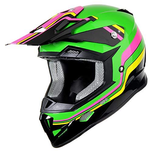 GLX Youth Kids Motocross Dirt Bike Off-Road ATV BMX MX Downhill Mountain Bike Helmet DOT Approved (Green, Small)