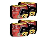 Rapid Ramen Cooker - Microwave Ramen in 3 Minutes - BPA Free and Dishwasher Safe (Four Black)