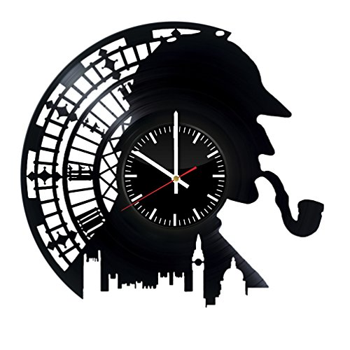 Sherlock Holmes Vinyl Records Wall Clock – Detective Stories Original Present For Movie's Fans – Wall Art Room Decor Handmade Decoration Party Supplies Theme Birthday Gift – Vintage And Modern Style