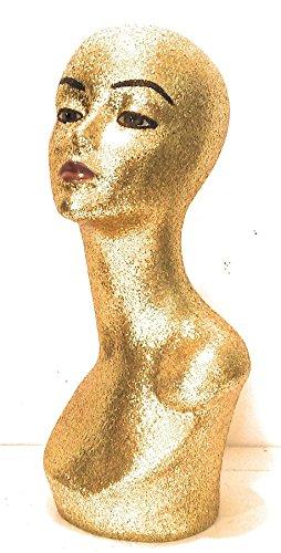 Gold Diamond Female Mannequin Glam Head (w/eyes & lips)