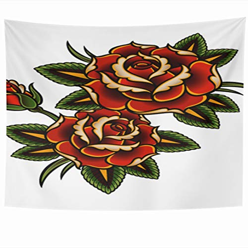 (Ahawoso Tapestry 90x60 Inch Summer Red Flower Tattoo Roses Pink Vine Thorn Pattern Border Outline Design Curl Tapestries Wall Hanging Home Decor for Living Room Bedroom Dorm)