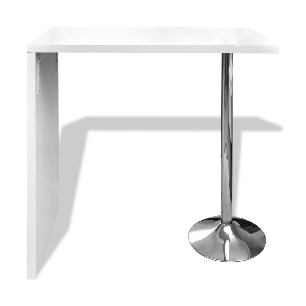 Festnight High Gloss Bar Coffee Table Dining Table With 1 Steel Base Leg, 46'' x 22.4'' x 41.5'', White