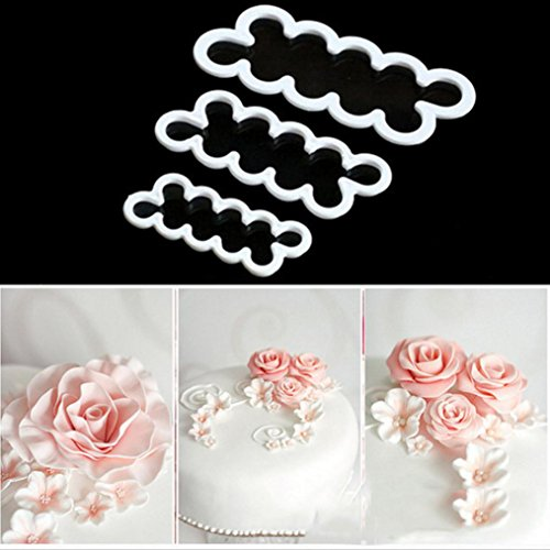 Dolloress 3PCS/Set 3D Rose Flower Cutter Sugarcraft Fondant Sugar Paste Cake Baking Maker Decor ()