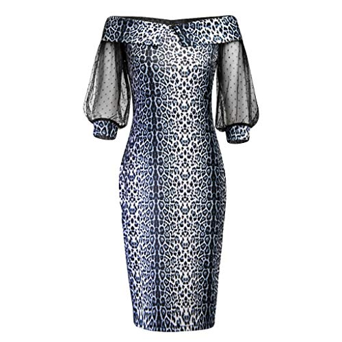 URIBAKE ♥️ Womens Vintage 3/4 Sleeve Dress Off Shoulder Leopard Mesh Patchwork Party Evening Prom Pencil Dress Black