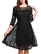 Beyove Women 3/4 Sleeve Crew Neck Floral Lace Swing Cocktail Party Mini Dress